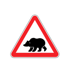 Bear warning sign red predator hazard attention vector