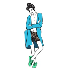 Beautiful women in a fashion shorts and sneakers vector image