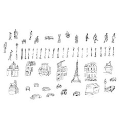 Big set of sketched street elements vector