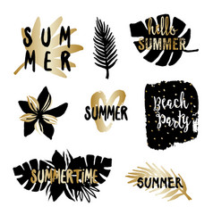Black and gold summer design elements vector
