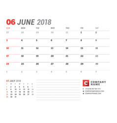 Calendar template for 2018 year june business vector