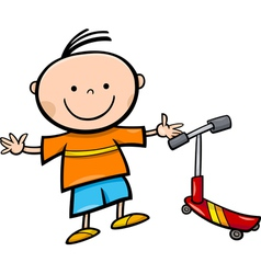 cartoon little boy with scooter vector image