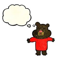 Cartoon unhappy black bear with thought bubble vector
