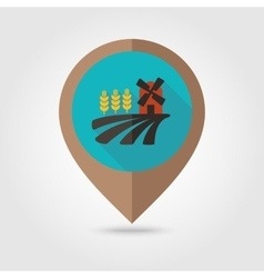 Field with a mill and wheat flat mapping pin icon vector