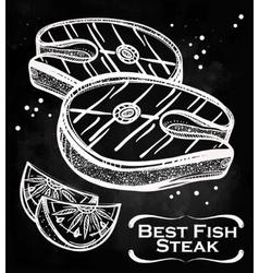 Fish Steak meat and lemon vector image vector image
