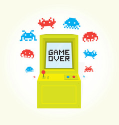 Game over sign on retro arcade game machine vector