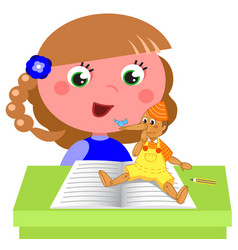 Girl reading pinocchio book vector