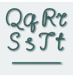 Letters Q R S T - handwritten alphabet of rope vector image