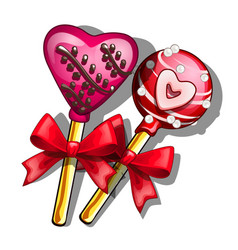 Lollipops on stick with hearts for valentines day vector