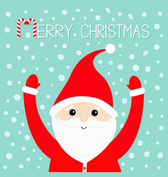 merry christmas candy cane santa claus wearing vector image vector image
