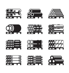 Metal plastic and rubber pipes in pallets vector image vector image
