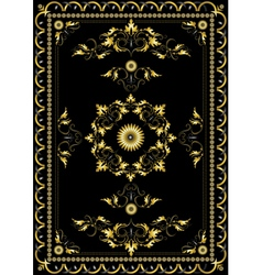 Ornament oriental rugs with golden decor vector