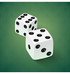 Realistic white dice icon on green background vector