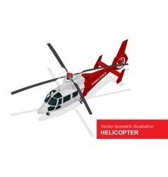 Red helicopter isometric of vector image