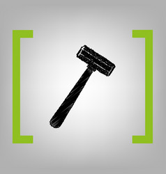 Safety razor sign black scribble icon in vector