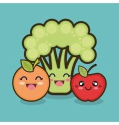set cartoon fruit vegetable design vector image