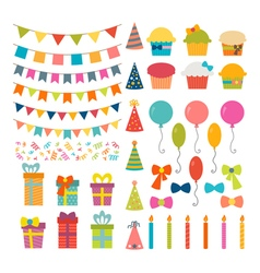 Set of birthday party design elements colorful vector