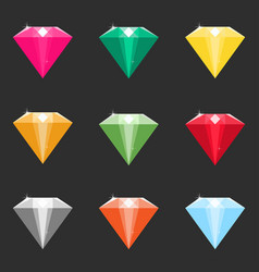 set of cartoon diamonds crystals in different vector image vector image