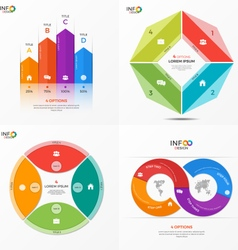 set of infographic templates with 4 options vector image vector image