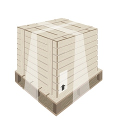 Shipping box with plastic wrap and steel strapping vector