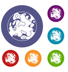 small planet icons set vector image vector image