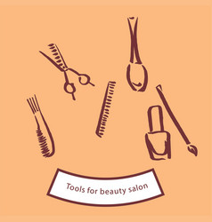 Tools for beauty salon vector