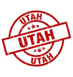 Utah red round grunge stamp vector