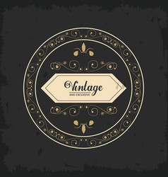 Vintage and exclusive round badge luxury royal vector