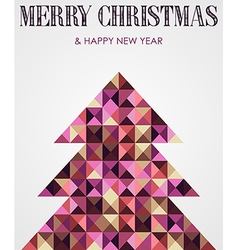 Vintage mosaic Christmas pine tree vector image vector image