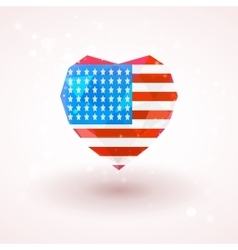 Flag of usa in shape diamond glass heart vector