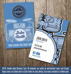 Drums instructor business card vector