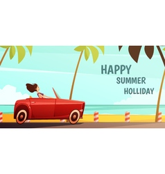 Retro car summer holiday vacation poster vector