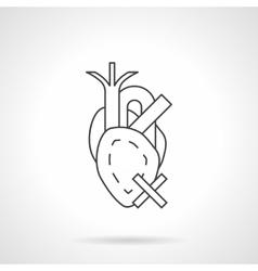 Heart diseases flat line icon vector