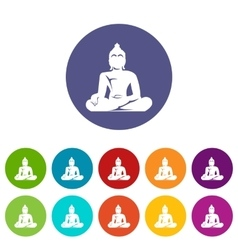 Statue of buddha sitting in lotus pose set icons vector