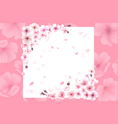 Blooming cherry spring background falling sakura vector
