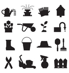 Spring gardening icons set vector