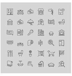 Real estate related line icons set vector