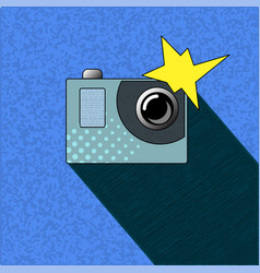 Photocamera with flash in pop art style action vector