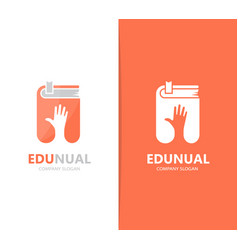 Hand and book logo combination arm and vector
