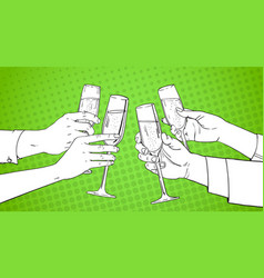Sketched hands group clinking glass of champagne vector