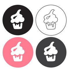 cake set four sweets in black line and vector image