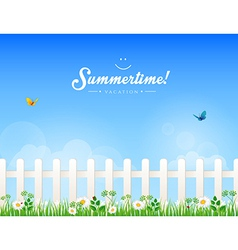 White fence with grass vector image
