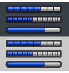 Blue Striped Progress Bar Set vector image