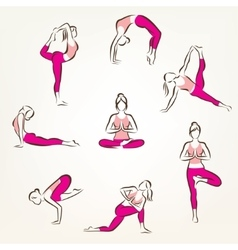 set of yoga and pilates poses symbols stylized vector image