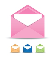 Coloured open envelope set vector
