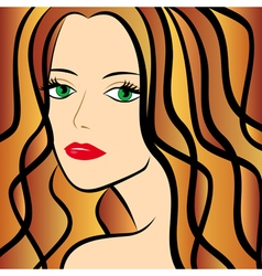 Abstract female with chestnut hair half turn vector