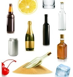 Alcohol drink in bottle icons set vector