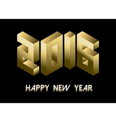 New year 2016 gold isometric 3d greeting card vector