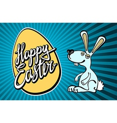 Happy easter bunny with giant egg vector