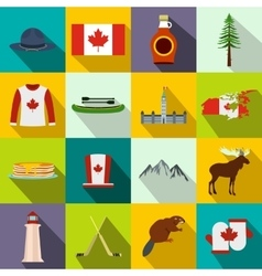 Canada icons flat vector